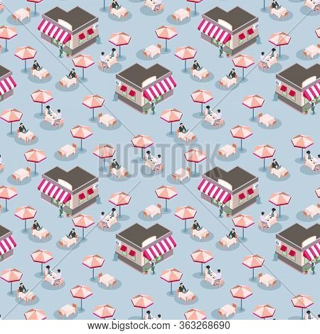Open Air Or Sidewalk City Cafe, Flat Vector Isometric Seamless Pattern