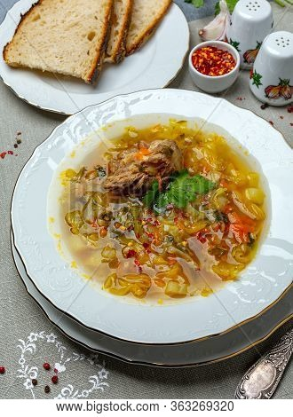 Cabbage Soup With Oxtails.