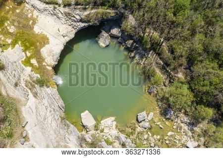 An Aerial View Of Waterfall Zarecki Krov, Istria, Croatia