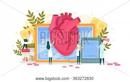 Research Cardiogram Data, Heart Disease Diagnosis. Woman Doctor Palpate Large Organ. Medical Worker