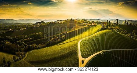 South Styria Vineyards Aerial Panorama Landscape, Near Gamlitz, Austria, Eckberg, Europe. Grape Hill