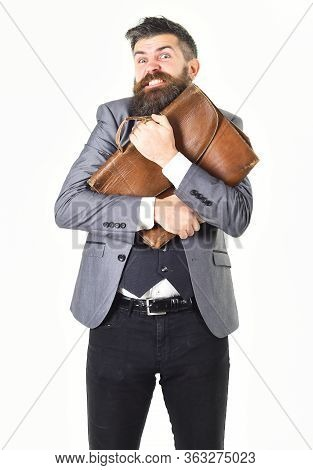 Hipster With Greedy Face And Vintage Briefcase.