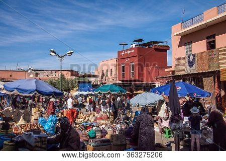 Marrakesh, Morocco - Oct 22, 2019: People At The Marrakesh Souk, The Largest Traditional Market In M