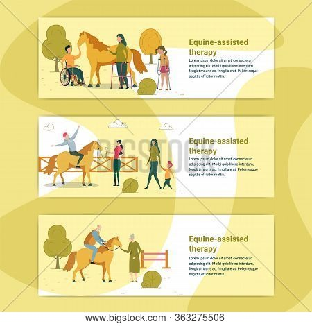 Equine Assisted Therapy Banner. People With Disability Petting Horse. Woman On Wheelchair, Having Le