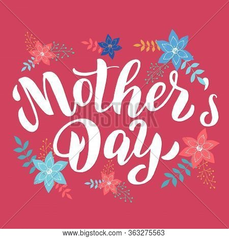 Mother's Day Text Card. Greeting Typography Font Postcard. Celebration Banner, Poster, Mother Day Te