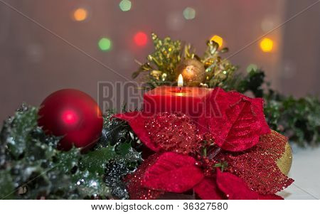 Poinsettia And Candle