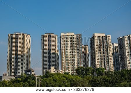 Highrise Hillside Residential Apartments And Buildings In Chongqing, China