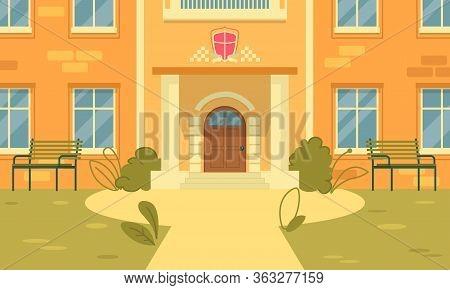 Entrance To University Building, Building Porch. Place Student Brotherhood, Emblem Brotherhood Depic