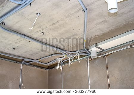 Plastic Junction Boxes And Cable In Corrugation