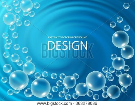 A Whirlpool With Flying Drops Of Water. Vector Abstract Blue Water Background.