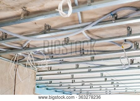 Electrical Wiring On The Concrete Ceiling In Drywall