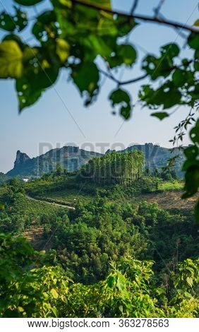 Vertical View Of The Xianggong Hill Viewpoint View Of Beautiful Green, Lush And Dense Karst Mountain