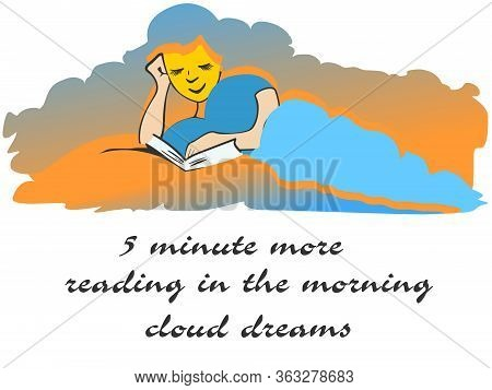 Reading Sun Illustration, Reading In Bed In The Morning Is A Big Pleasure And True Hobby, The Sun Is