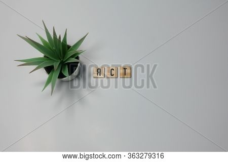 The Word Act Written In Wooden Letter Tiles On A White Background.  Concept Acting In Plays Or Take