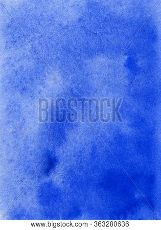 Watercolor Hand Painted Abstract Blue Background. Subtle Light Blue Color Ink Gradient On Textured P