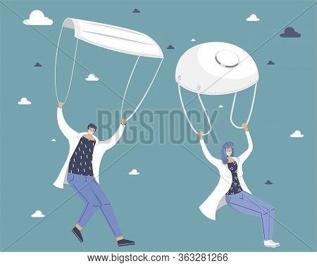Doctors Descend On Parachutes. Troopers With Masks. Landing Party. Coronavirus Control Concept. Vect