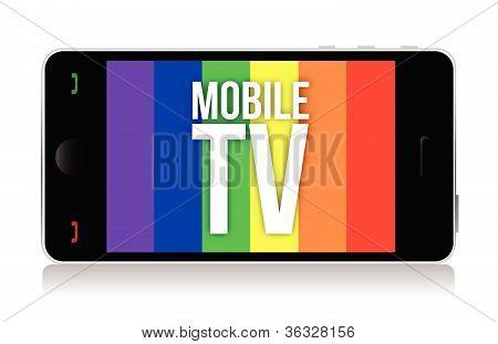 Projeto de ilustração de tv móvel sobre um fundo branco