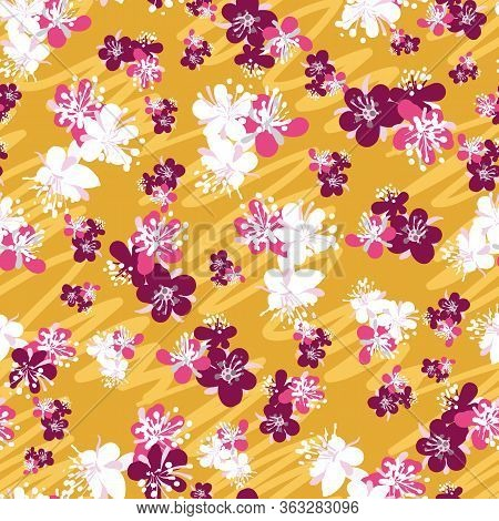 Plum Blossoms Seamless Vector Pattern On Yellow Background. Fruit Tree Blooms Springtime Surface Pri