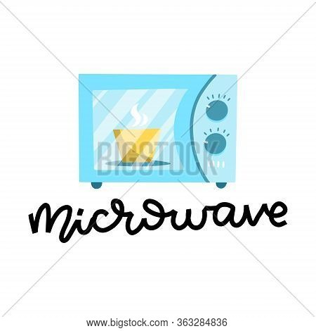 Vector Microwave Oven With Plate Inside. Blue Microwave Isolated On White Background. Flat Design Ve