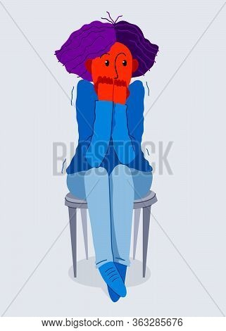Scared Young Woman Feeling Uncomfortable Vector Illustration, Phobia Paranoia Anxiety Or Other Psych
