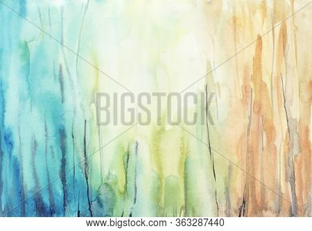 Abstract Watercolor Background, Hand Painted Texture, Paint Stains.concept Labradorite.  Design For