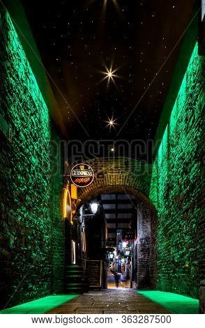 Dublin Ireland, Jan 21 2017 Dublin Alley At Night Green Lights And Stars Uk