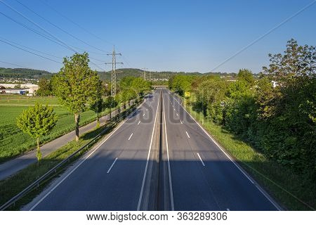 An Empty Expressway In Germany In The Middle Of The Day Due To The Covid-19 Coronavirus Pandemic.