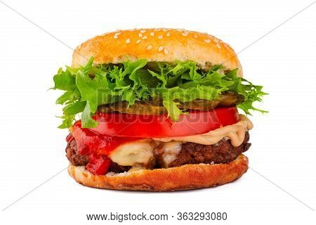 One Big Tall Classic Hamburger Burger Cheeseburger Isolated On White Background