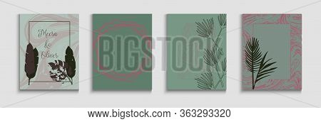Abstract Vintage Vector Covers Set. Hand Drawn Retro Background. Noble Olive Leaves Invitation Layou
