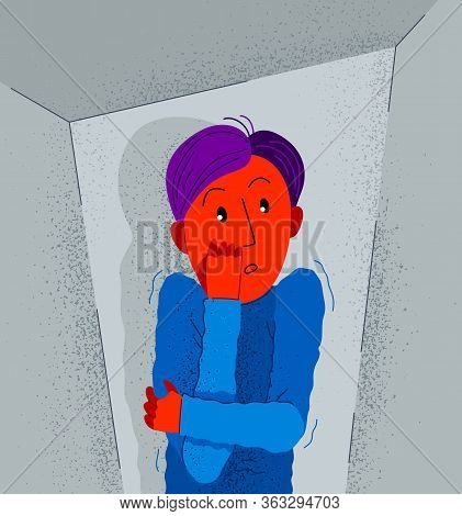 Claustrophobia Fear Of Closed Space And No Escape Vector Illustration, Boy Is Closed In Small Room S