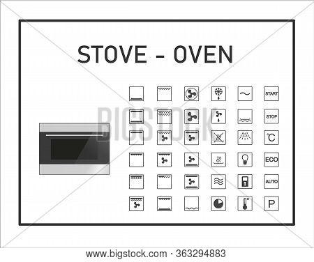 Oven Manual Icon Set. Instructions Symbols. Stove Exploitation Manual. Instructions And Function Des