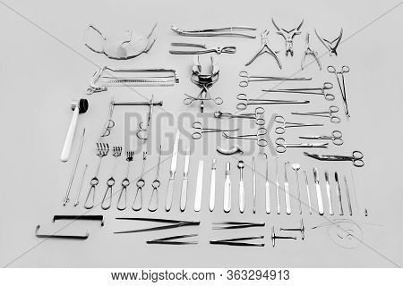 Big Set Of Medical Instruments Used For Surgical Operations, For Abdominal Surgery. Made Of Stainles