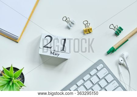 21 Twenty First Day May Month Calendar Concept On Wooden Blocks. Close Up.
