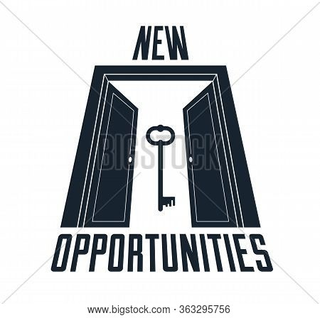 Half Open Door Vector Concept Of New Opportunities, Step Into Future Metaphor, Start Of New Business