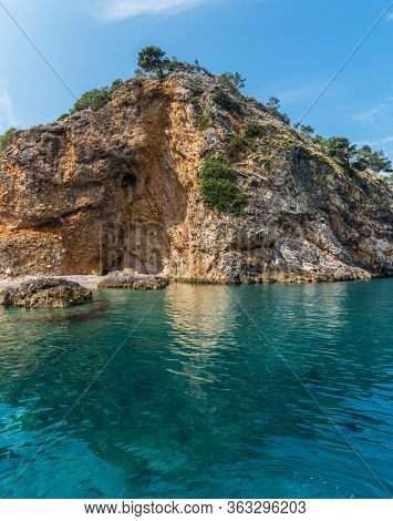Wonderful beach coast line of The island Cres, Croatia. Adriatic sea.