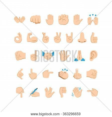 Emoji Hand Icons And Symbols Set. Hand Gestures And Signs. Vector Eps 10