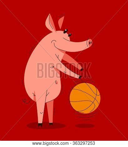 Funny Cartoon Pig Plays Basketball With Big Ball Vector Illustration, Active Happy Enjoying Animal S