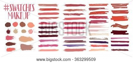 Swatches Makeup Collection. Lipstick Strokes For Color Presentation. Beauty Cosmetic Nude Brush Stai