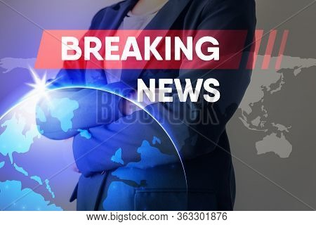 Breaking News Headline For Broadcast Presentation Background, Journalism Report Broadcasting And Glo