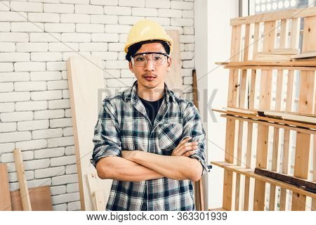 Carpenter Handyman Occupation And Skill Worker Concept, Portrait Of Asian Carpentry Man In Personal