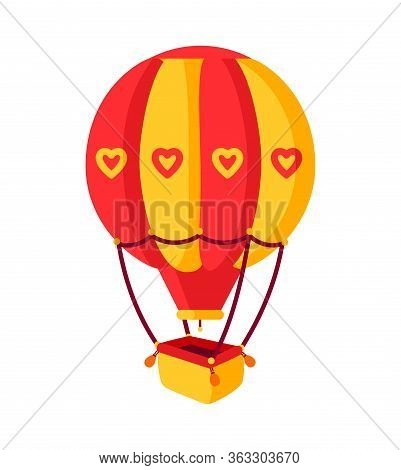 Hot Air Balloon Flat. Cartoon Design Air Balloon, With Red And Yellow Stripes. Summer Journey By Air