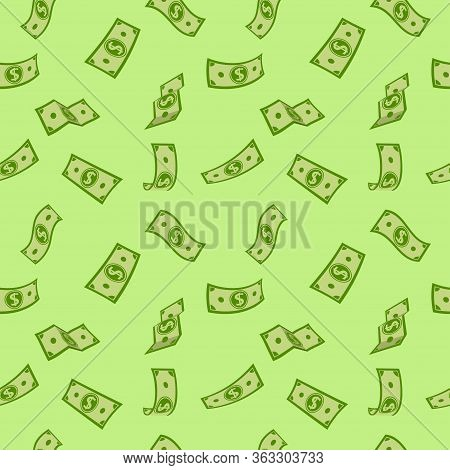 Seamless Pattern Money Rain Green Flat Cartoon. Paper Notes Flying In Air. Money Banknotes Flying Gr