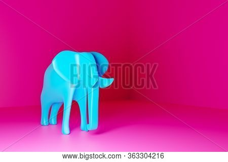Full Sized Blue Smooth Elephant On A Pink Isolated Background. 3d Rendering Model Of An Elephant In