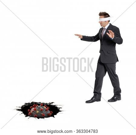 Back to work concept.Blind businessman approaching a black hole. Business risk concept.