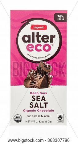 Winneconne,  Wi - 26 April 2020:  A Package Of Alter Eco Organic Dark Chocolate Bar On An Isolated B