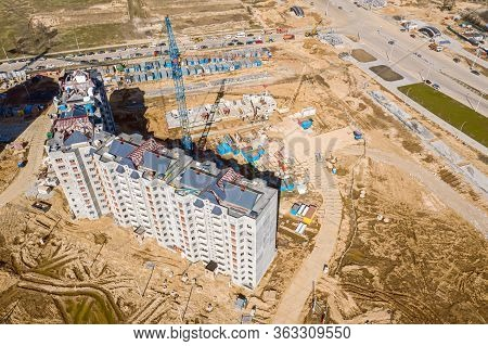 Aerial View Of Construction Site Of New Modern Apartment Building. Drone Photo, Top View