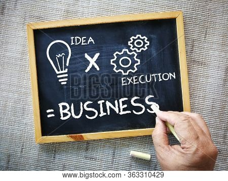 Message on chalkboard, idea and execution makes business