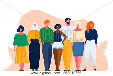 Diverse Multinational Group Of People. Multicultural And Multiethnic Crowd. Vector Illustration With