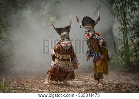 Phi Ta Khon Festival Ghost Mask And Colorful Costume Fun Traditional Thailand Mask The Show Art And