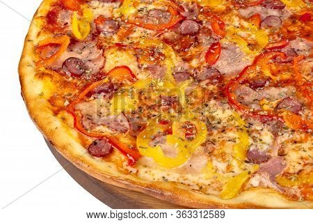 Tasty Pizza On A Wooden Board. Italian Food Isolated On The White Background. Close Up View